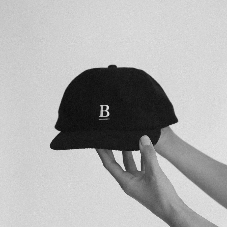 Blackboard 5 Panel Black Corduroy Hat
