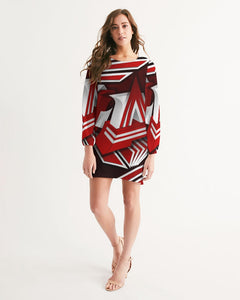 EXCLUSIVE 2019: KING DROP: Red and White Colorway Women's Long Sleeve Chiffon Dress