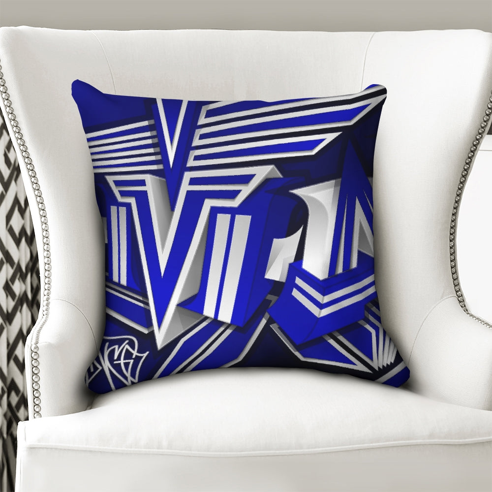 KING ZOOM EXCLUSIVE 2019 DROP: Blue and White Colorway Throw Pillow Case 18