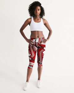 EXCLUSIVE 2019: KING DROP: Red and White Colorway Women's Mid-Rise Capri
