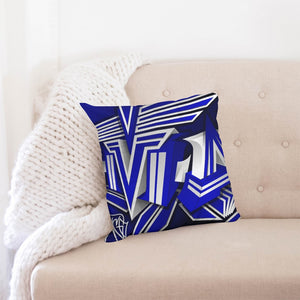 "KING ZOOM EXCLUSIVE 2019 DROP: Blue and White Colorway Throw Pillow Case 18""x18"""