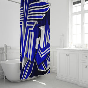"KING ZOOM EXCLUSIVE 2019 DROP: Blue and White Colorway Shower Curtain 72""x72"""