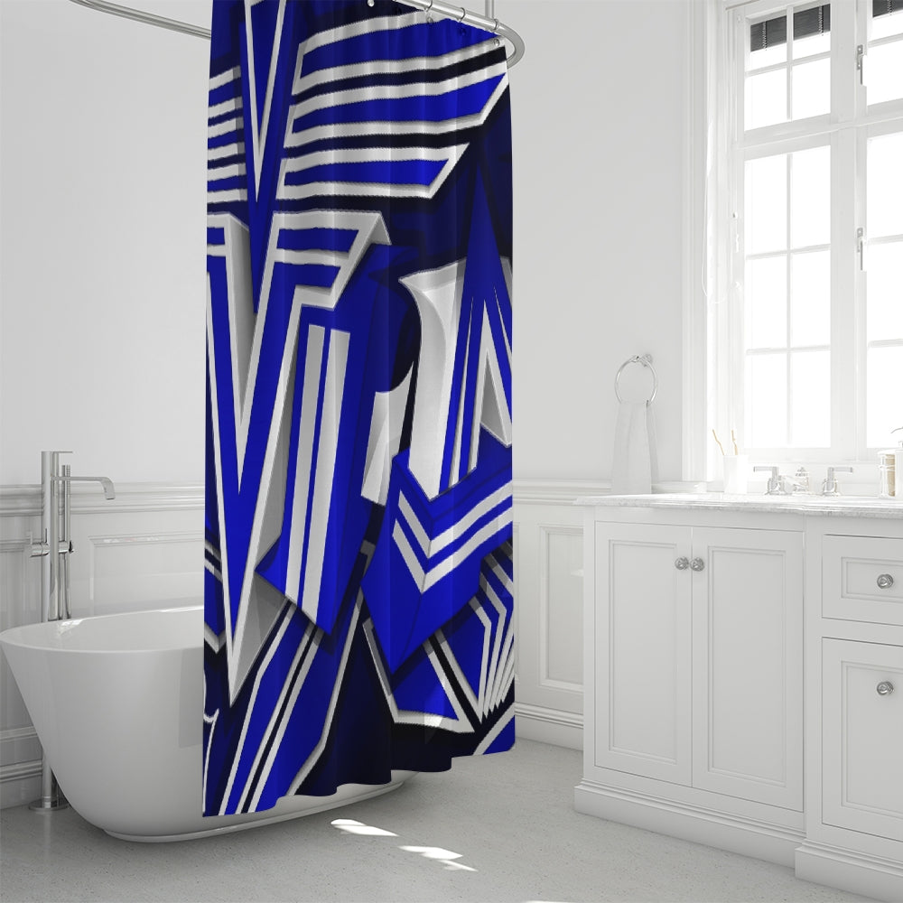 KING ZOOM EXCLUSIVE 2019 DROP: Blue and White Colorway Shower Curtain 72