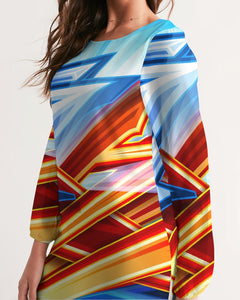 King Zoom ZigZag Women's Long Sleeve Chiffon Dress