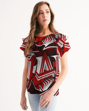 EXCLUSIVE 2019: KING DROP: Red and White Colorway Women's Short Sleeve Chiffon Top