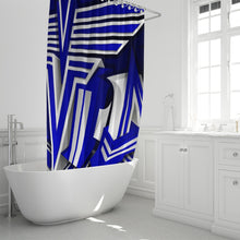 "Load image into Gallery viewer, KING ZOOM EXCLUSIVE 2019 DROP: Blue and White Colorway Shower Curtain 72""x72"""