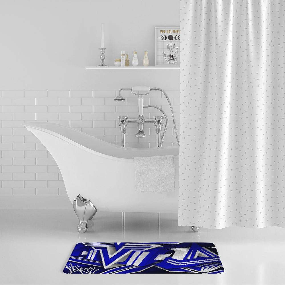 KING ZOOM EXCLUSIVE 2019 DROP: Blue and White Colorway Bath Mat