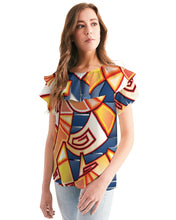Load image into Gallery viewer, Maya Orange Colorway Women's Short Sleeve Chiffon Top