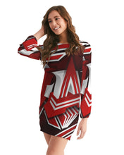 Load image into Gallery viewer, EXCLUSIVE 2019: KING DROP: Red and White Colorway Women's Long Sleeve Chiffon Dress