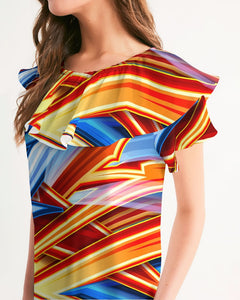 King Zoom ZigZag Women's Short Sleeve Chiffon Top