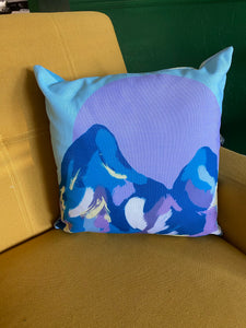 Mountain and Abstract Print Pillow