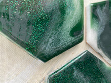 Load image into Gallery viewer, Green, Gray, Green Glitter and White Coaster Set of 4