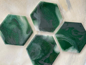 Green, Gray, Green Glitter and White Coaster Set of 4