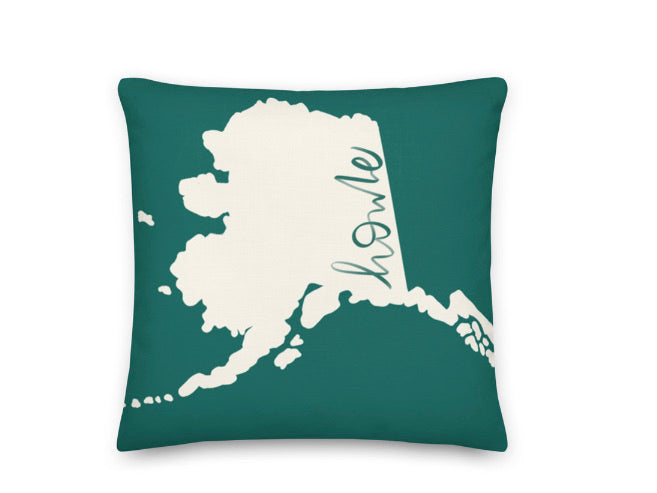 Alaska printed pillow featuring two designs