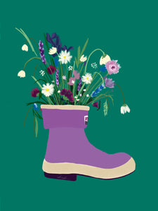 Wild Flower and Boot Card (or pack of 3)