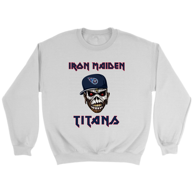 NFL - Tennessee Titans Iron Maiden Heavy Metal Football Shirt-T-shirt-Crewneck Sweatshirt-White-S-PopsSpot