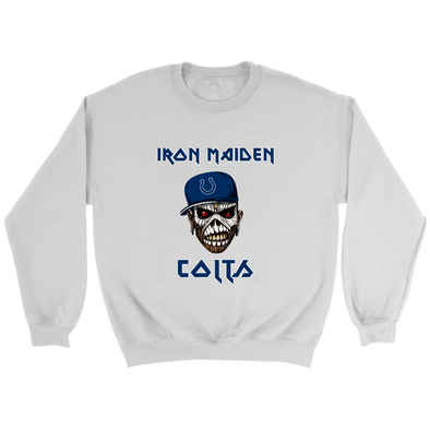 NFL - Indianapolis Colts Iron Maiden Heavy Metal Football Sweatshirt-T-shirt-Crewneck Sweatshirt-White-S-Itees Global