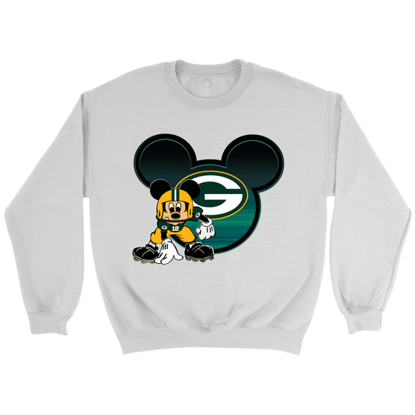 NFL – Green Bay Packers Mickey Mouse Football Shirt-T-shirt-Crewneck Sweatshirt-White-S-Itees Global