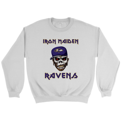 NFL - Baltimore Ravens Iron Maiden Heavy Metal Football Sweatshirt-T-shirt-Crewneck Sweatshirt-White-S-Itees Global