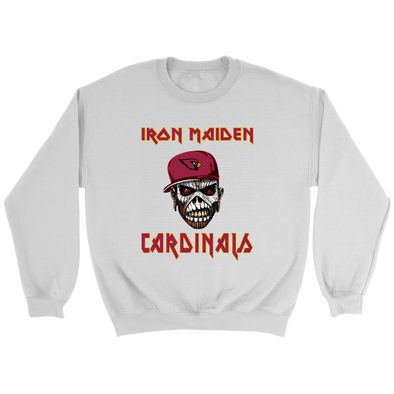 NFL - Arizona Cardinals Iron Maiden Heavy Metal Football Sweatshirt-T-shirt-Crewneck Sweatshirt-White-S-PopsSpot