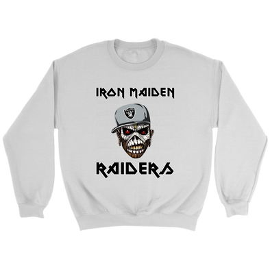 NFL - Oakland Raiders Iron Maiden Heavy Metal Football Shirt-T-shirt-Crewneck Sweatshirt-White-S-Itees Global
