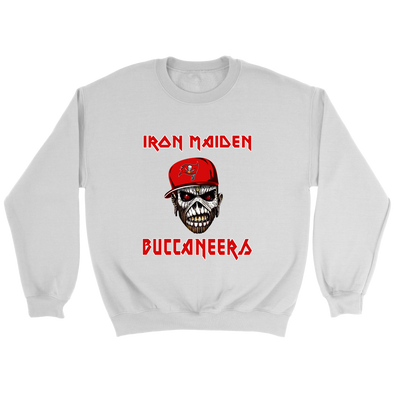 NFL - Tampa Bay Buccaneers Iron Maiden Heavy Metal Football Sweatshirt-T-shirt-Crewneck Sweatshirt-White-S-Itees Global