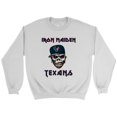 NFL - Houston Texans Iron Maiden Heavy Metal Football Shirt-T-shirt-Crewneck Sweatshirt-White-S-Itees Global