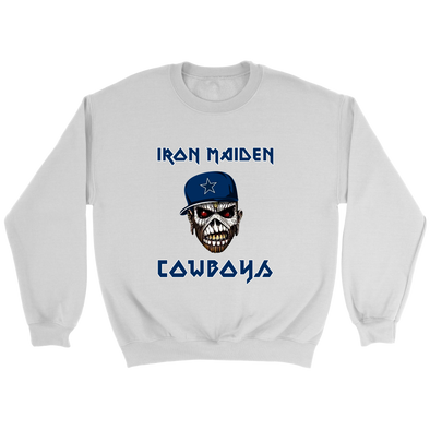 NFL - Dallas Cowboys Iron Maiden Heavy Metal Football Sweatshirt-T-shirt-Crewneck Sweatshirt-White-S-PopsSpot