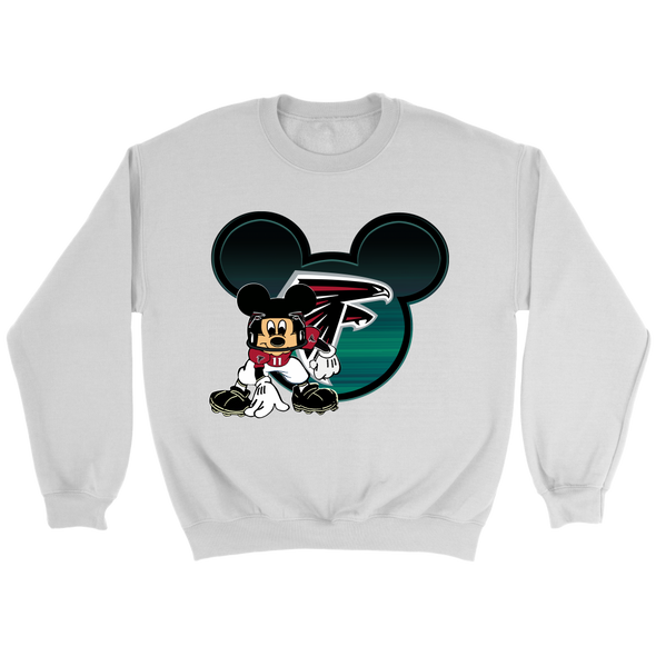 NFL – Atlanta Falcons Mickey Mouse Football Shirt-T-shirt-Crewneck Sweatshirt-White-S-PopsSpot