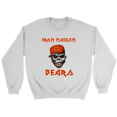 NFL - Chicago Bears Iron Maiden Heavy Metal Football Music Sweatshirt-T-shirt-Crewneck Sweatshirt-White-S-PopsSpot