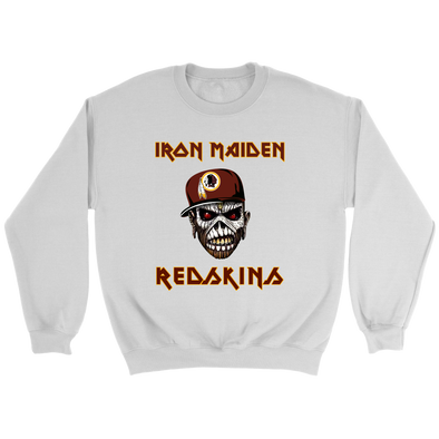 NFL - Washington Redskins Iron Maiden Heavy Metal Football Shirt-T-shirt-Crewneck Sweatshirt-White-S-PopsSpot