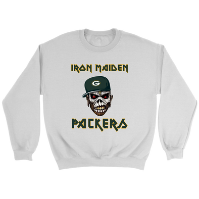 NFL - Green Bay Packers Iron Maiden Heavy Metal Football Sweatshirt-T-shirt-Crewneck Sweatshirt-White-S-PopsSpot