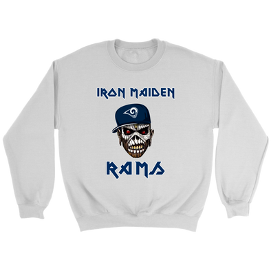 NFL - Los Angeles Rams Iron Maiden Heavy Metal Football Sweatshirts-T-shirt-Crewneck Sweatshirt-White-S-PopsSpot