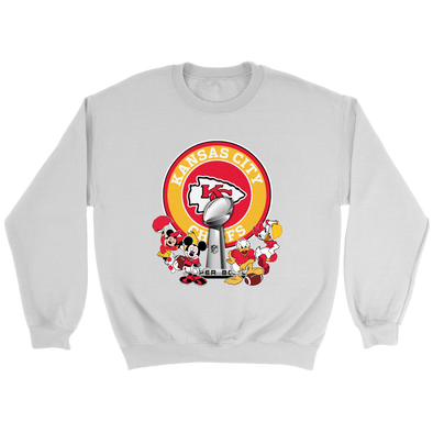 NFL – Kansas City Chiefs Super Bowl 2019 Mickey Mouse Minnie Mouse Donald Duck Daisy Duck Football Shirts-T-shirt-Crewneck Sweatshirt-White-S-Itees Global