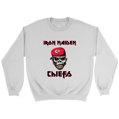 NFL - Kansas City Chiefs Iron Maiden Heavy Metal Football Sweatshirt-T-shirt-Crewneck Sweatshirt-White-S-Itees Global