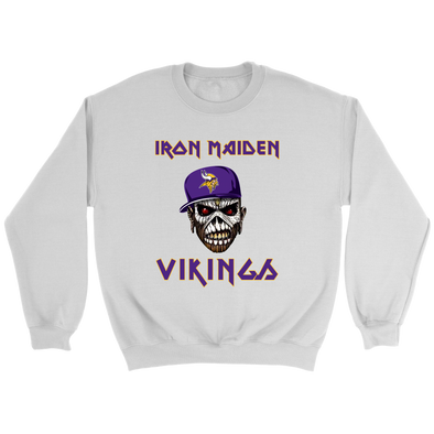NFL - Minnesota Vikings Iron Maiden Heavy Metal Football Shirt-T-shirt-Crewneck Sweatshirt-White-S-PopsSpot