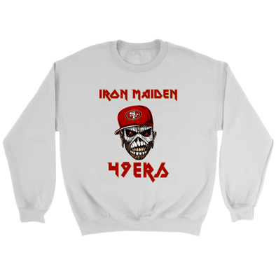 NFL - San Francisco 49ers Iron Maiden Heavy Metal Football Music-T-shirt-Crewneck Sweatshirt-White-S-Itees Global