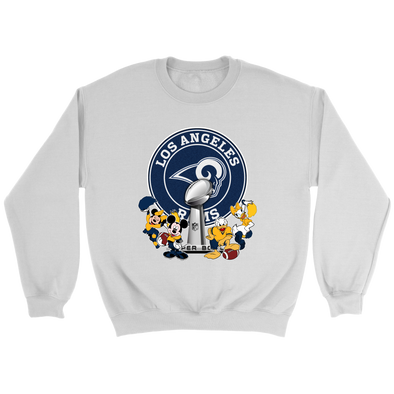 NFL – Los Angeles Rams Super Bowl 2019 Mickey Mouse Minnie Mouse Donald Duck Daisy Duck Football Shirts-T-shirt-Crewneck Sweatshirt-White-S-Itees Global