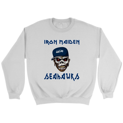 NFL - Seattle Seahawks Iron Maiden Heavy Metal Football Shirt-T-shirt-Crewneck Sweatshirt-White-S-Itees Global