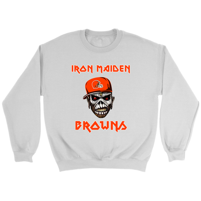 NFL - Cleveland Browns Iron Maiden Heavy Metal Football Sweatshirt-T-shirt-Crewneck Sweatshirt-White-S-Itees Global