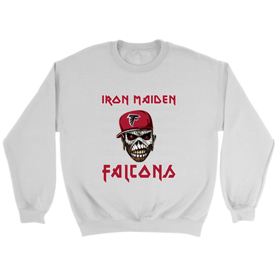 NFL - Atlanta Falcons Iron Maiden Heavy Metal Football Sweatshirt-T-shirt-Crewneck Sweatshirt-White-S-PopsSpot