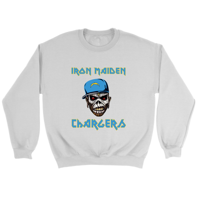 NFL - Los Angeles Chargers Iron Maiden Heavy Metal Football Sweatshirt-T-shirt-Crewneck Sweatshirt-White-S-Itees Global