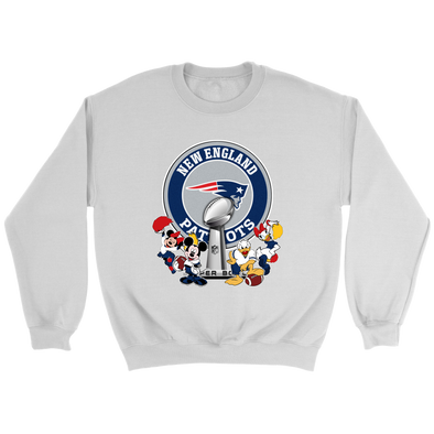 NFL – New England Patriots Super Bowl 2019 Mickey Mouse Minnie Mouse Donald Duck Daisy Duck Football Shirts-T-shirt-Crewneck Sweatshirt-White-S-PopsSpot