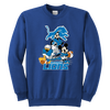 NFL - Detroit Lions Mickey Mouse Donald Duck Goofy Football Shirt-T-shirt-Youth Crewneck Sweatshirt-Royal Blue-XS-PopsSpot