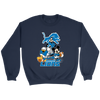 NFL - Detroit Lions Mickey Mouse Donald Duck Goofy Football Shirt-T-shirt-Crewneck Sweatshirt-Navy-S-PopsSpot