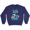 NFL - Detroit Lions Mickey Mouse Donald Duck Goofy Football Shirt-T-shirt-Crewneck Sweatshirt-Purple-S-PopsSpot