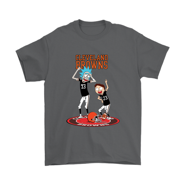 NFL - Cleveland Browns Rick And Morty Football NFL Shirts-T-shirt-Gildan Mens T-Shirt-Charcoal-S-PopsSpot