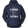NFL - Never Underestimate A Woman Who Watches Football And Loves Atlanta Falcons Sweatshirt-T-shirt-Unisex Hoodie-Navy-S-PopsSpot