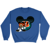 NFL – Cincinnati Bengals Mickey Mouse Football Shirt-T-shirt-Crewneck Sweatshirt-Royal-S-PopsSpot