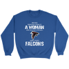 NFL - Never Underestimate A Woman Who Watches Football And Loves Atlanta Falcons Sweatshirt-T-shirt-Crewneck Sweatshirt-Royal-S-PopsSpot